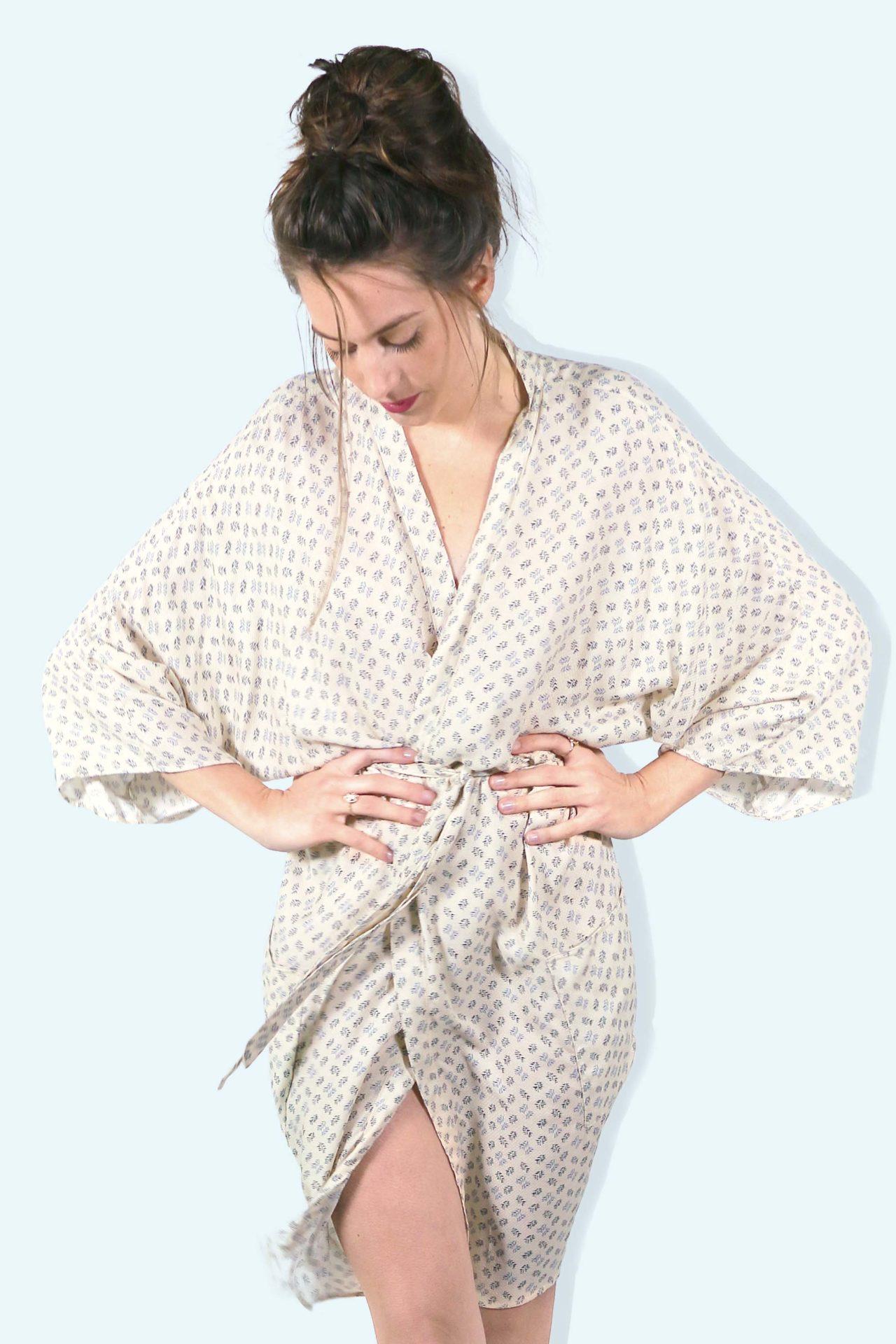 Kimono Mekhong – Imprime beige – 0001