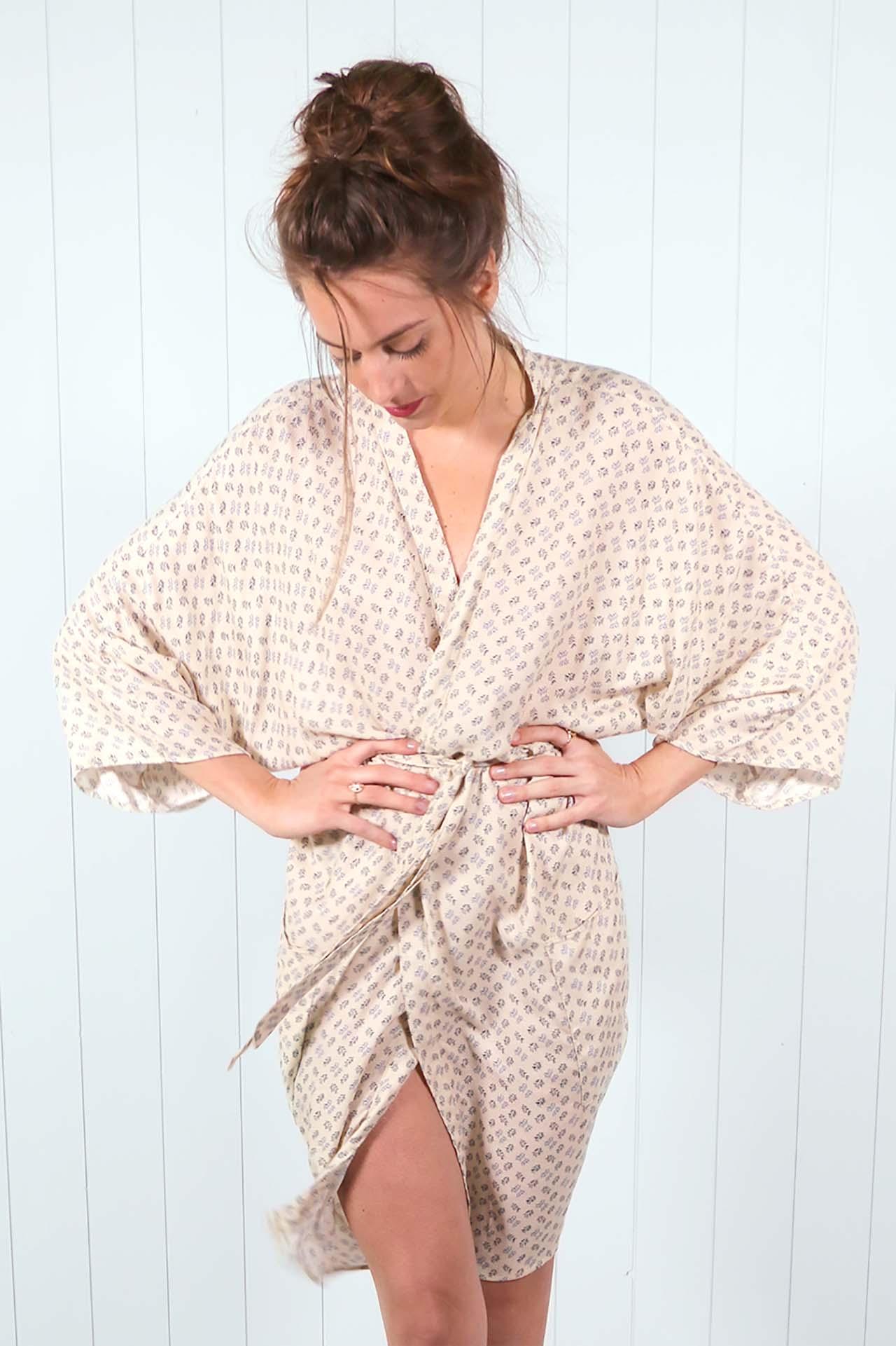 Kimono Mekong – imprime beige 02