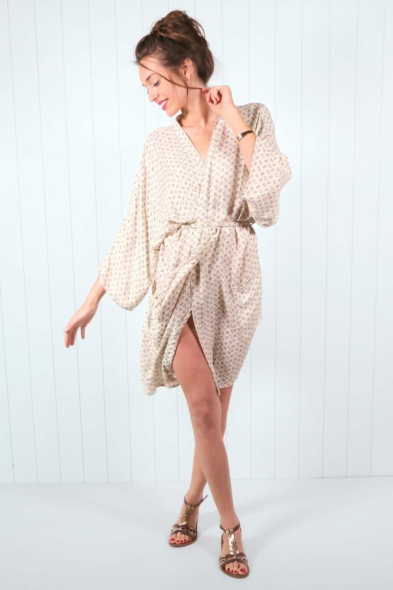 Kimono Mekong – imprime beige 03