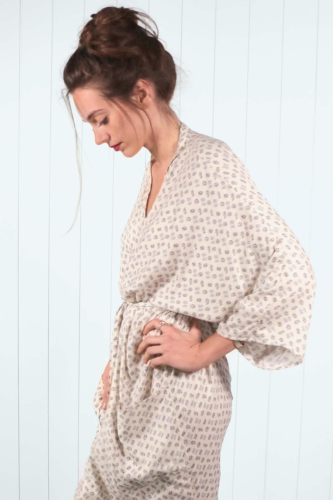 Kimono Mekong – imprime beige 04