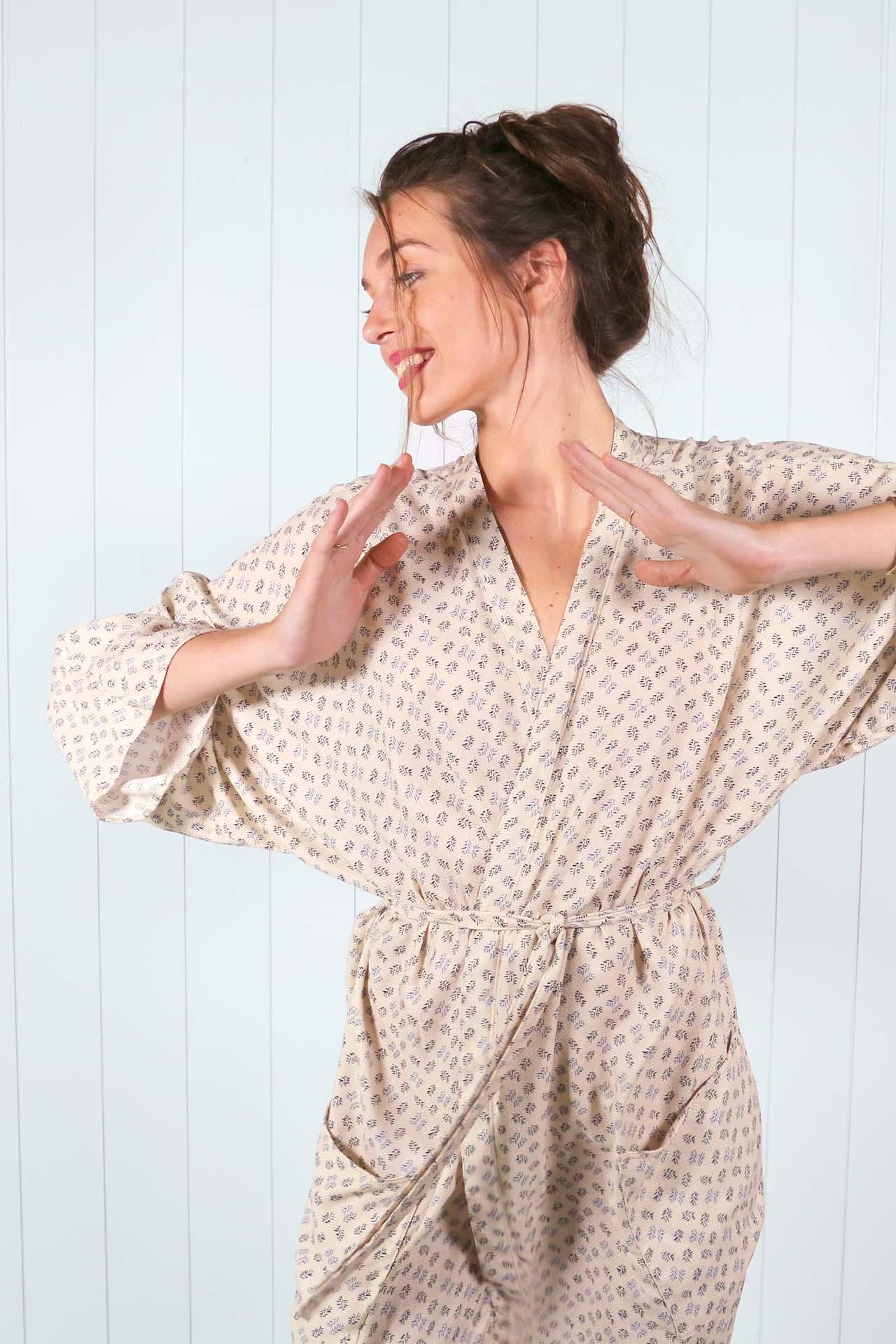 Kimono Mekong – imprime beige 05