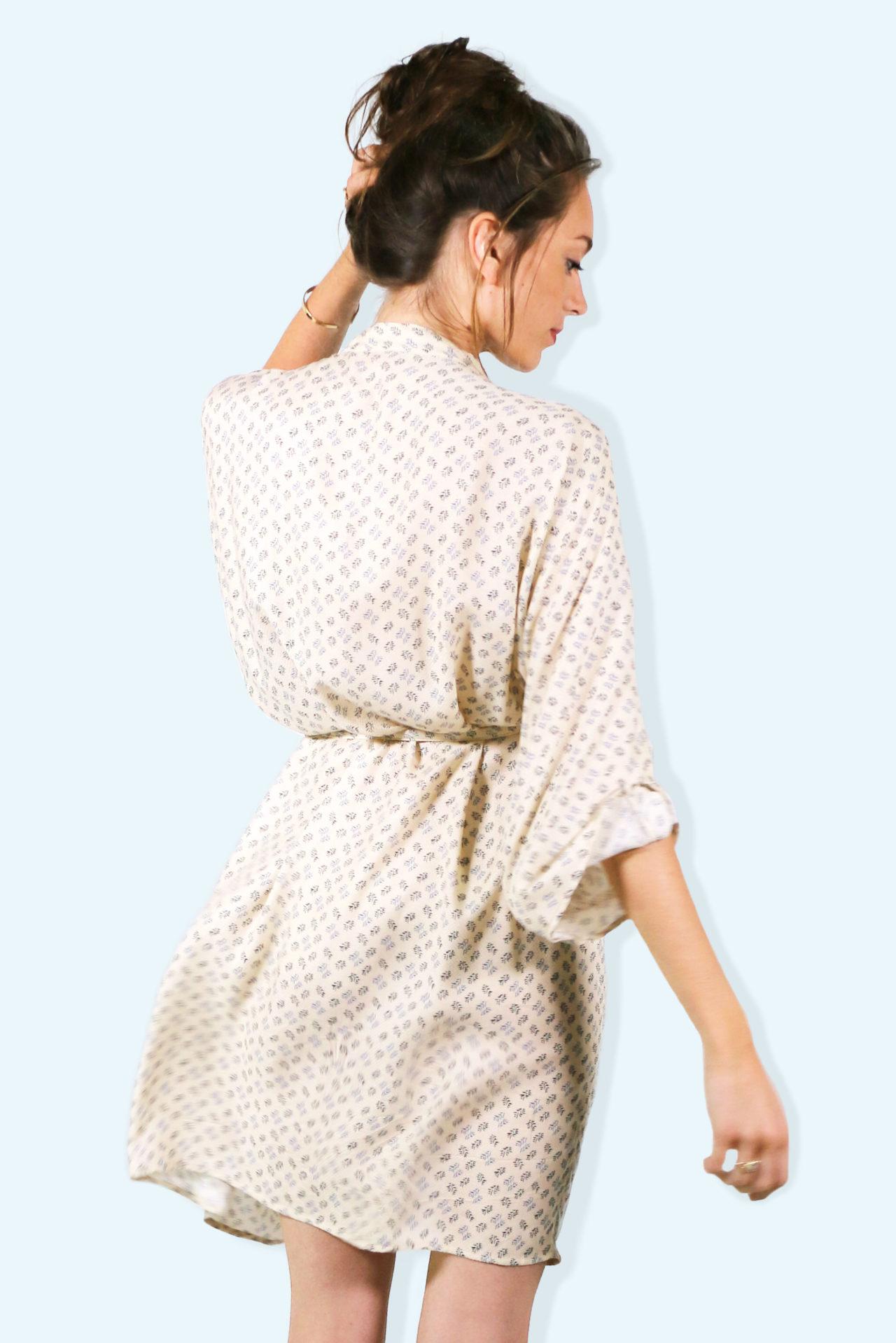Kimono MEKONG – imprime beige – 001