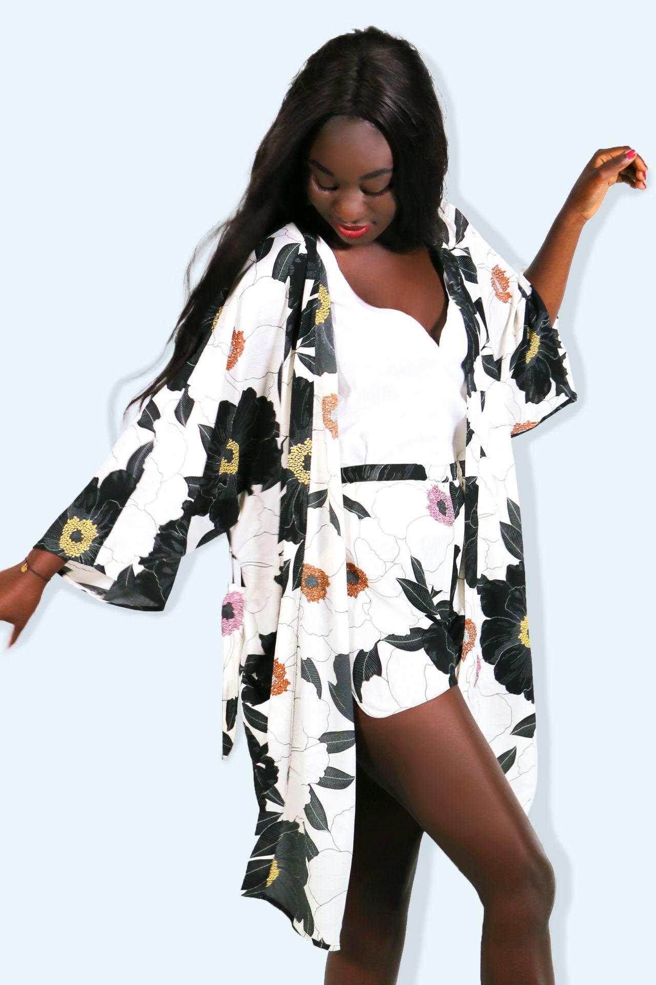 Kimono MEKONG – peinture florale – 03